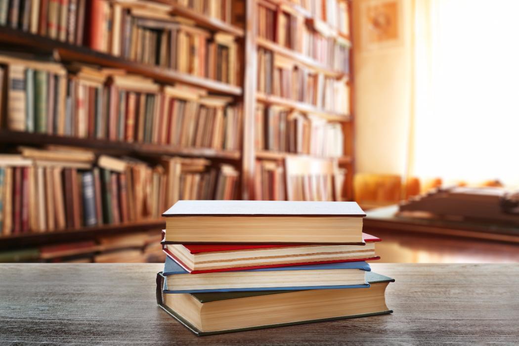 blurred image of bookshelf