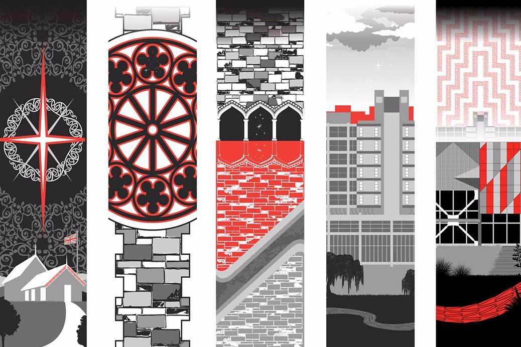 Cultural narrative building concept montage