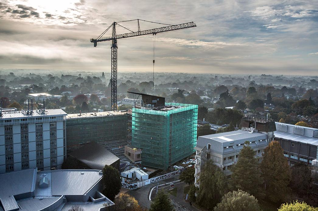 Ilam campus aerial landscape crane