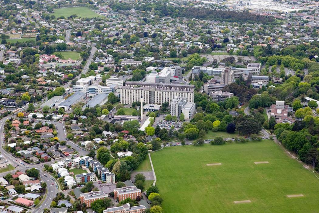 UC campus buildings playing fields aerial