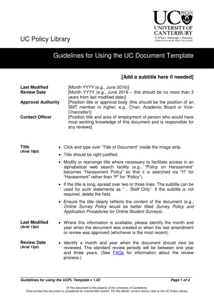 Guidelines for Using the UC Document Template