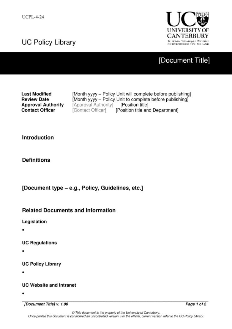 UCPL Document template