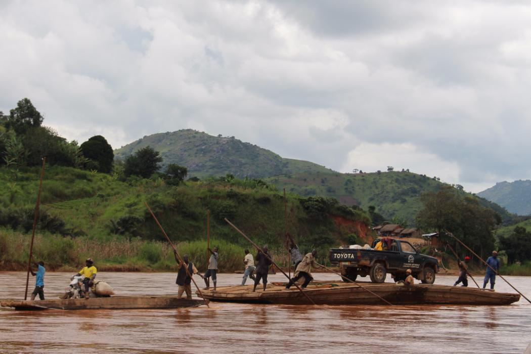 truck on barge on nigerian river