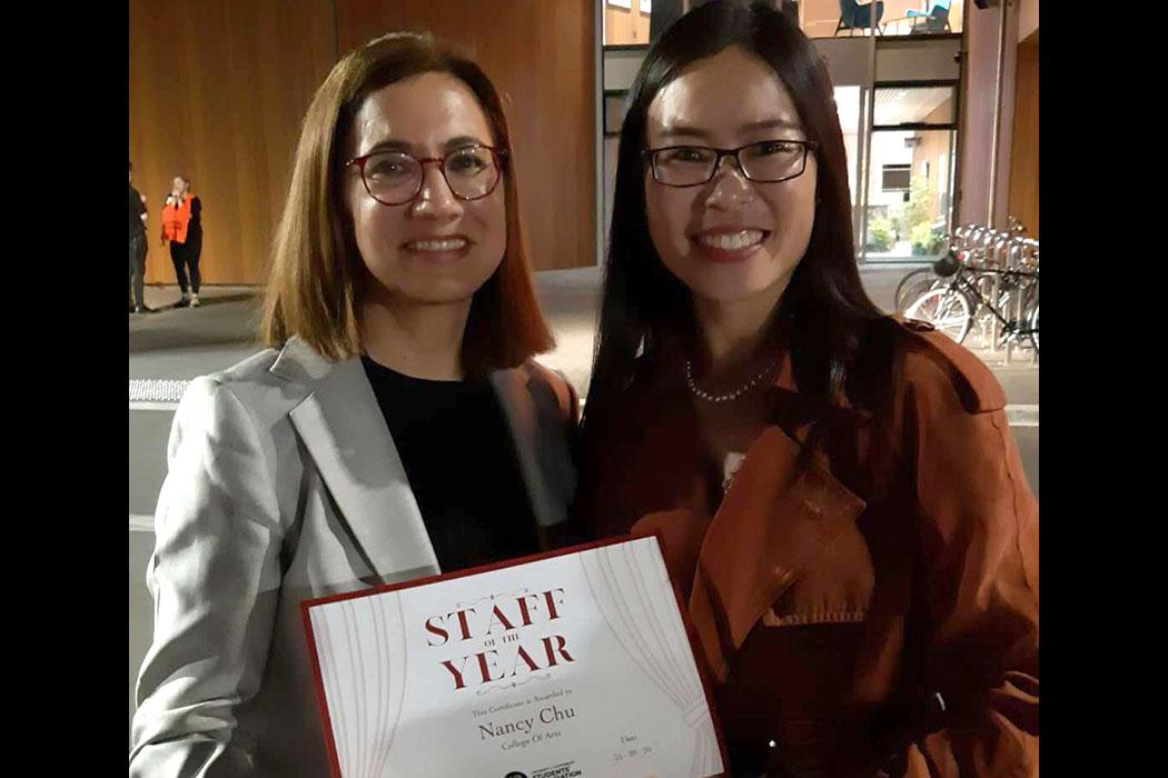 Nancy Chu receiving award
