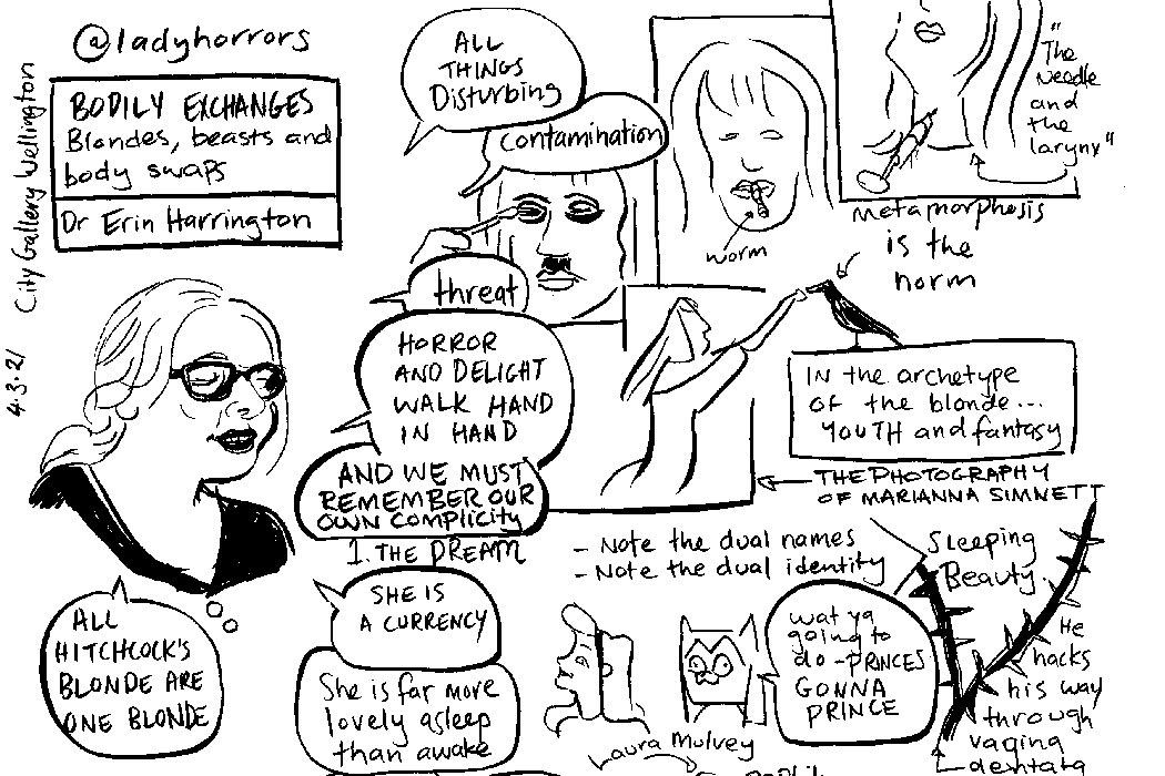 Erin Harrington lecture Blondes, Beasts and body-swaps: illustration Tara Black