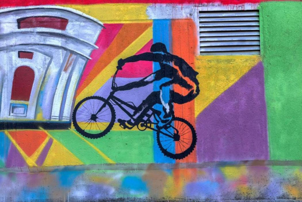 street art of bike and rider
