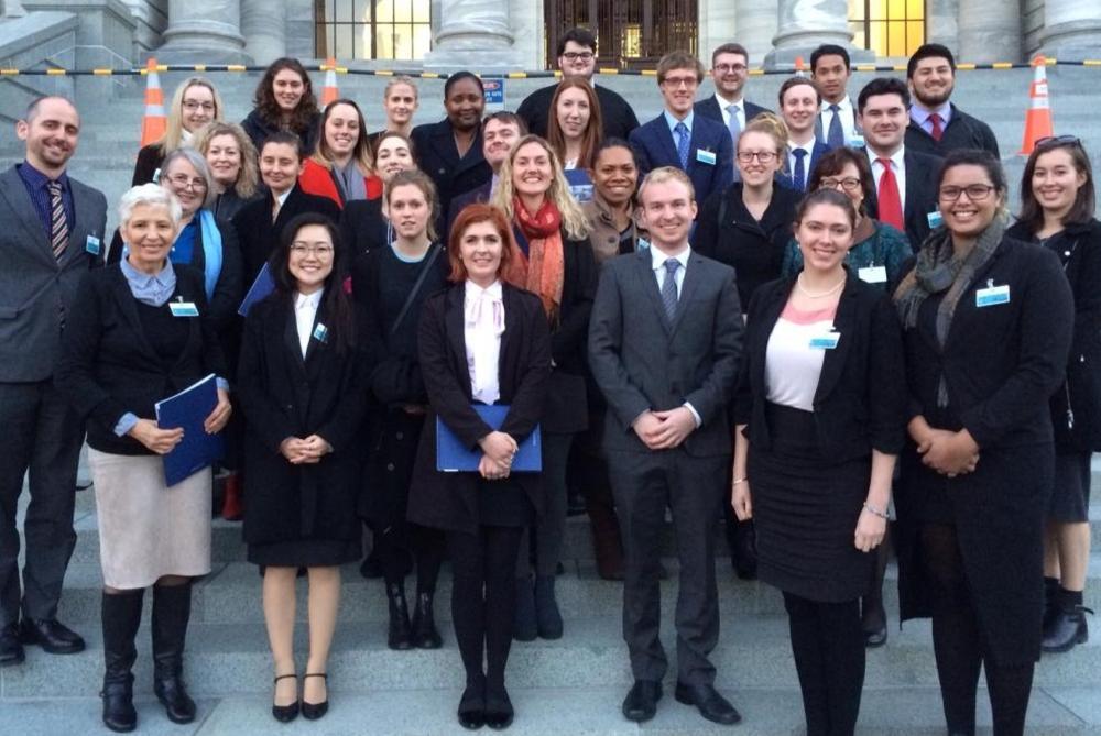 politics students on parliament steps