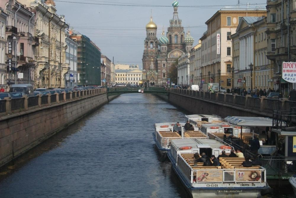 Bird eye view of Saint Petersburg city in Russia