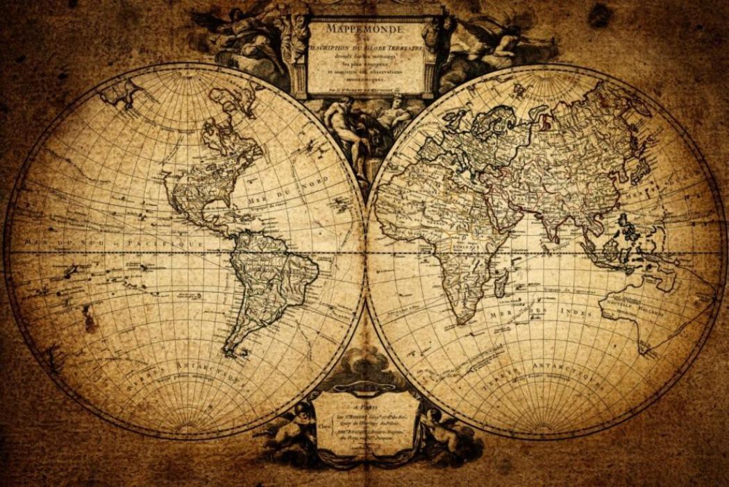 Vintage map world old globe