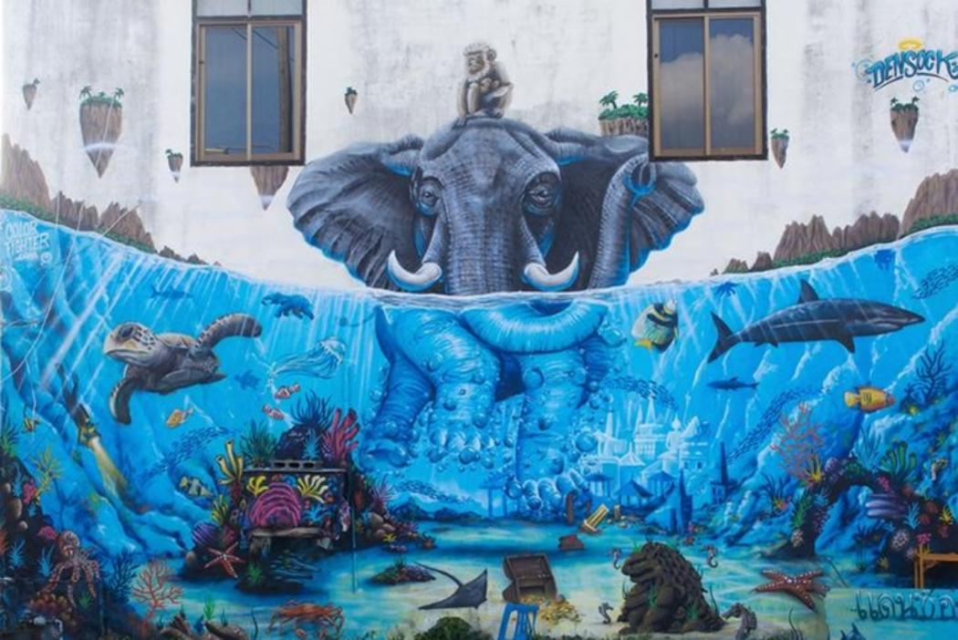 Mural of elephant in water