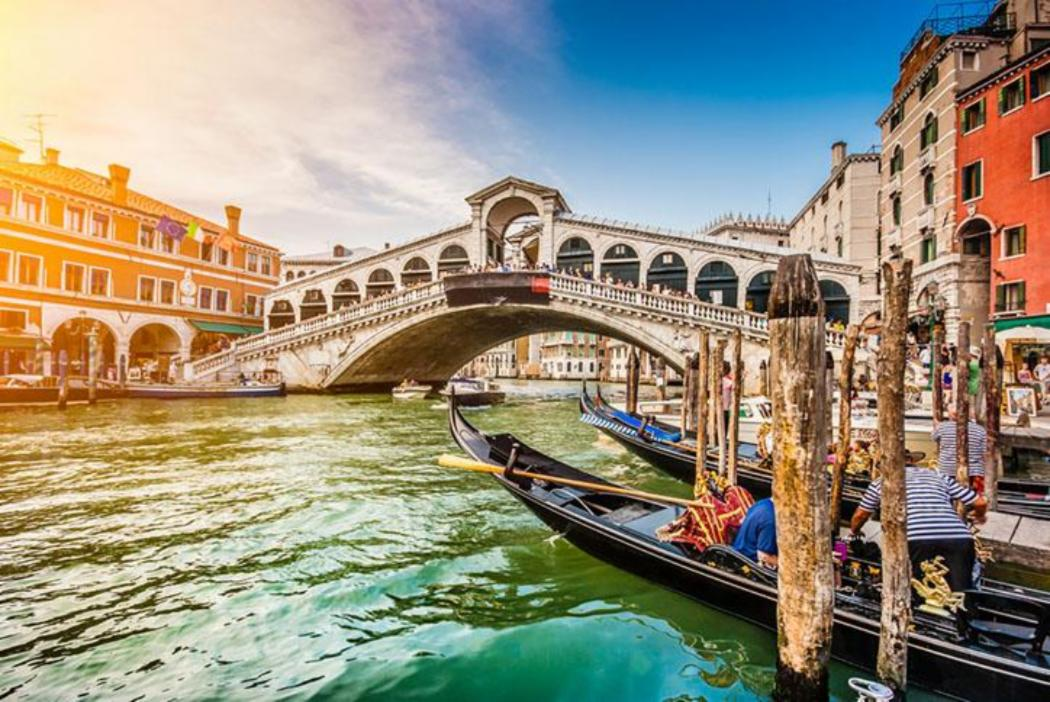 Canals in Venice with gondolas