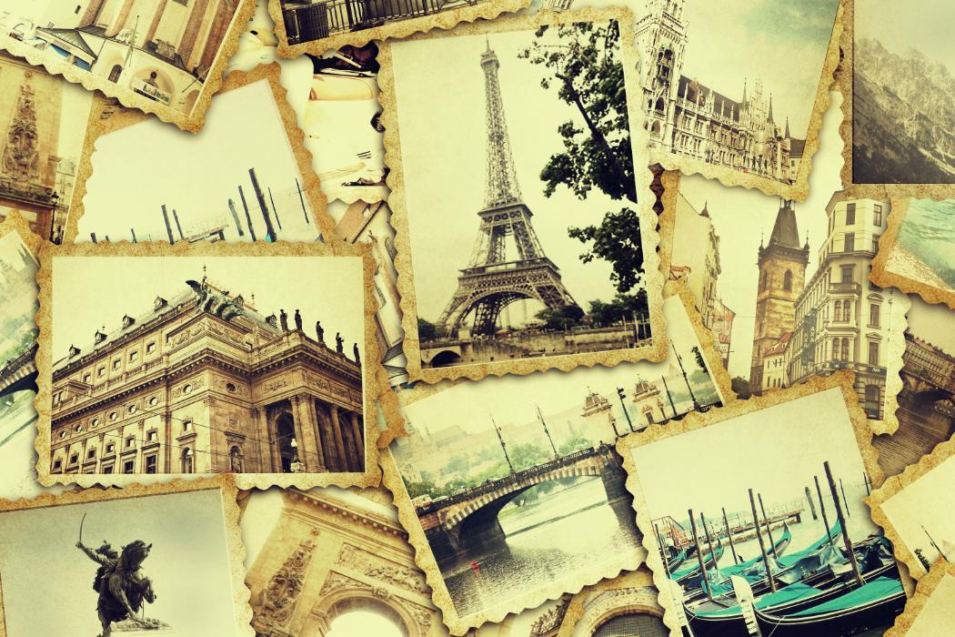 collage of european postcards