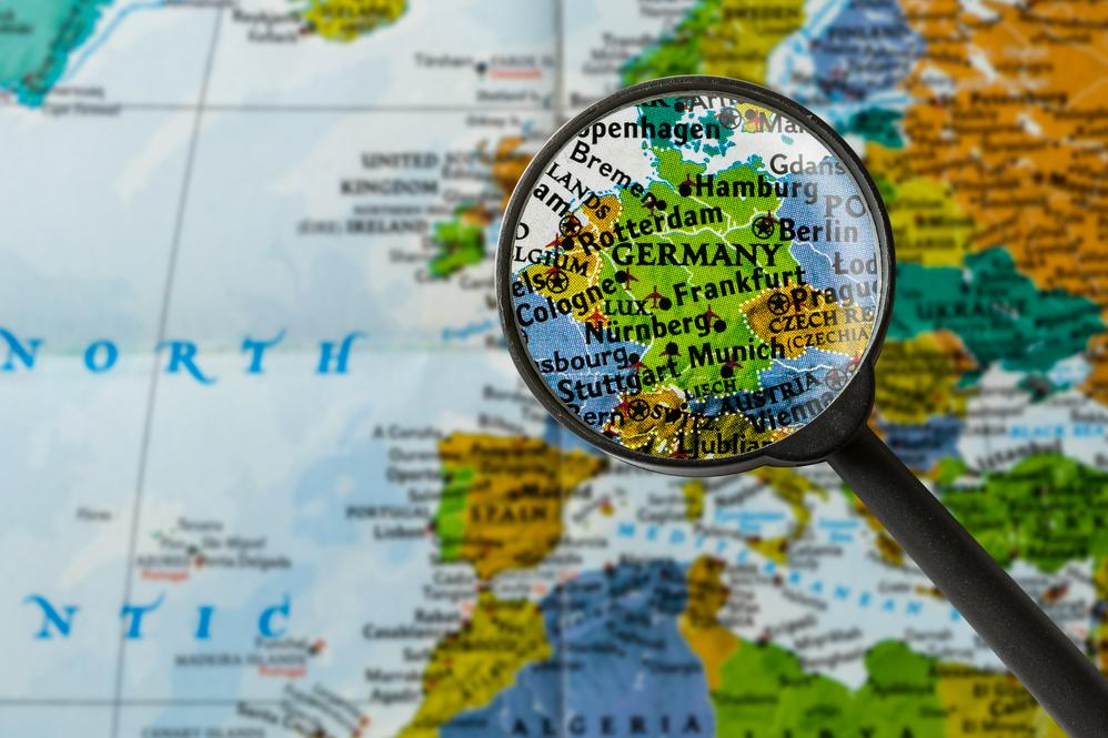 Germany on map magnified