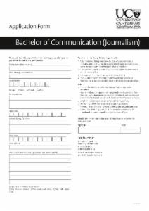 Application form for students enrolling in the Journalism major for the BC (second year).