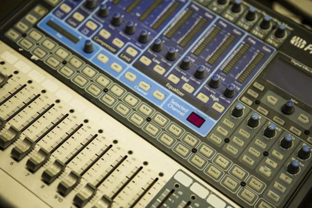 sound mixing desk controls