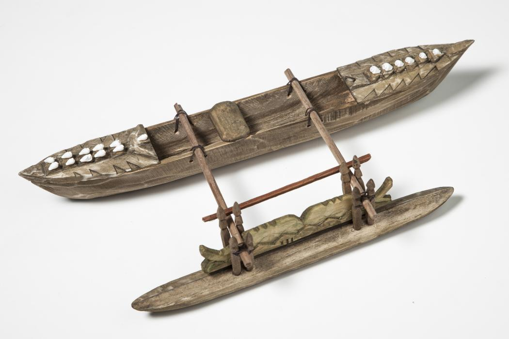 Carved wooden canoe