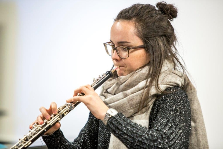 Female music student playing the clarinet