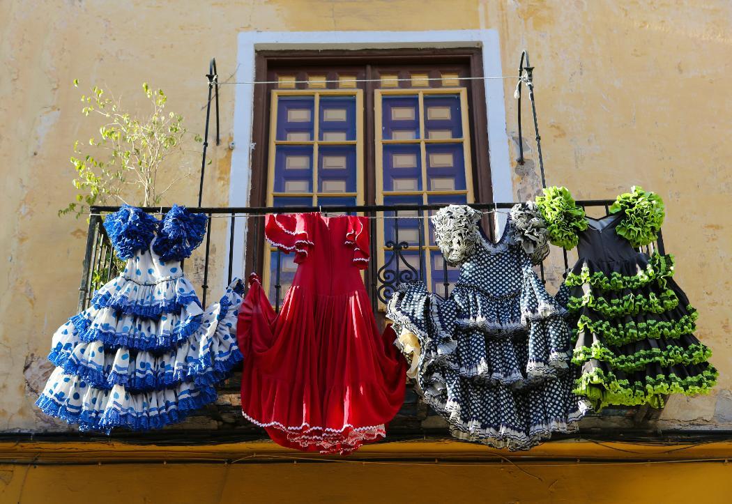 spanish flamenco dresses on rail