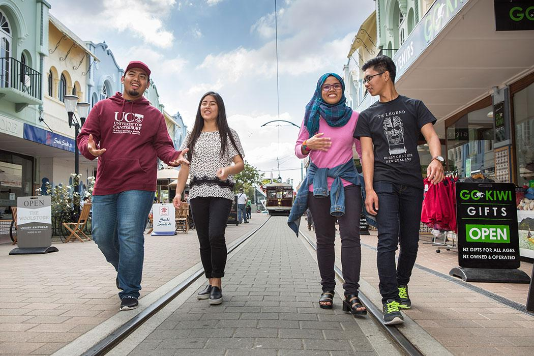 International students walking on New Regent Street