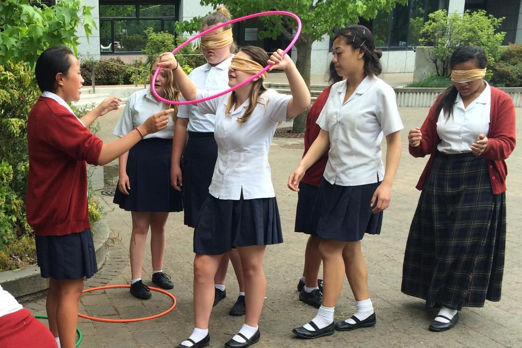 high school students in blindfolded exercise
