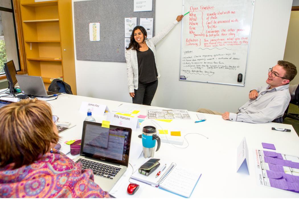 cecilia at whiteboard in incubator