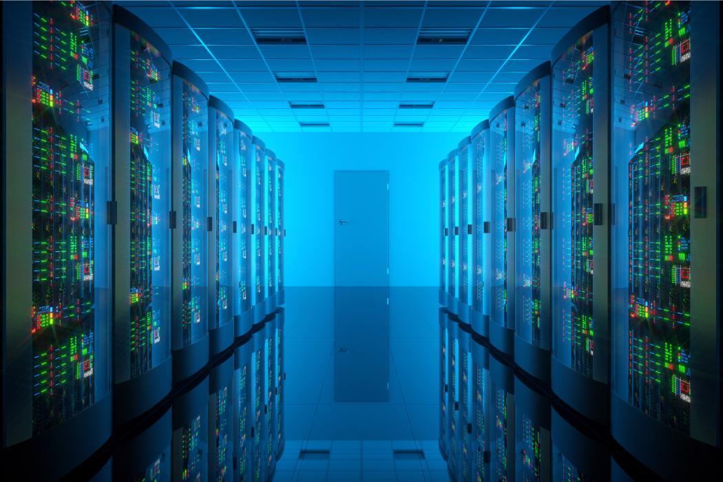 Clean blue server room