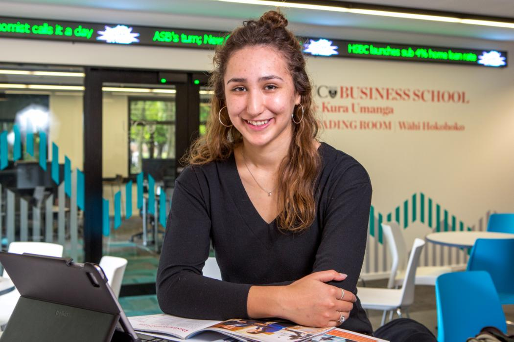 maori students in trading room at business school