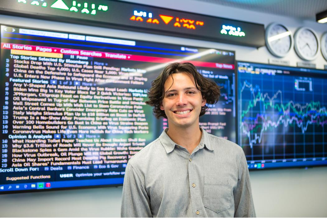 Business student in trading room