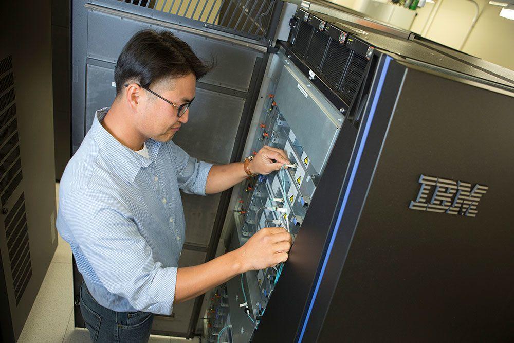 UC staff monitor the Bluefern IBM supercomputer