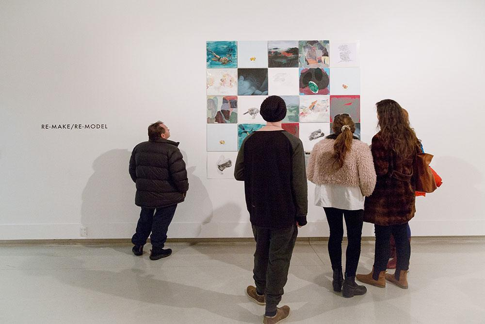 People attending an art exhibition at the School of Fine Arts, Ilam campus © Restricted/University of Canterbury