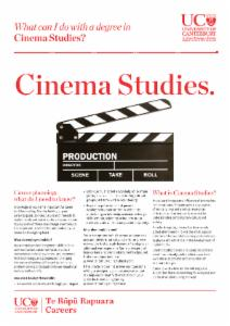 Careers Cinema Studies