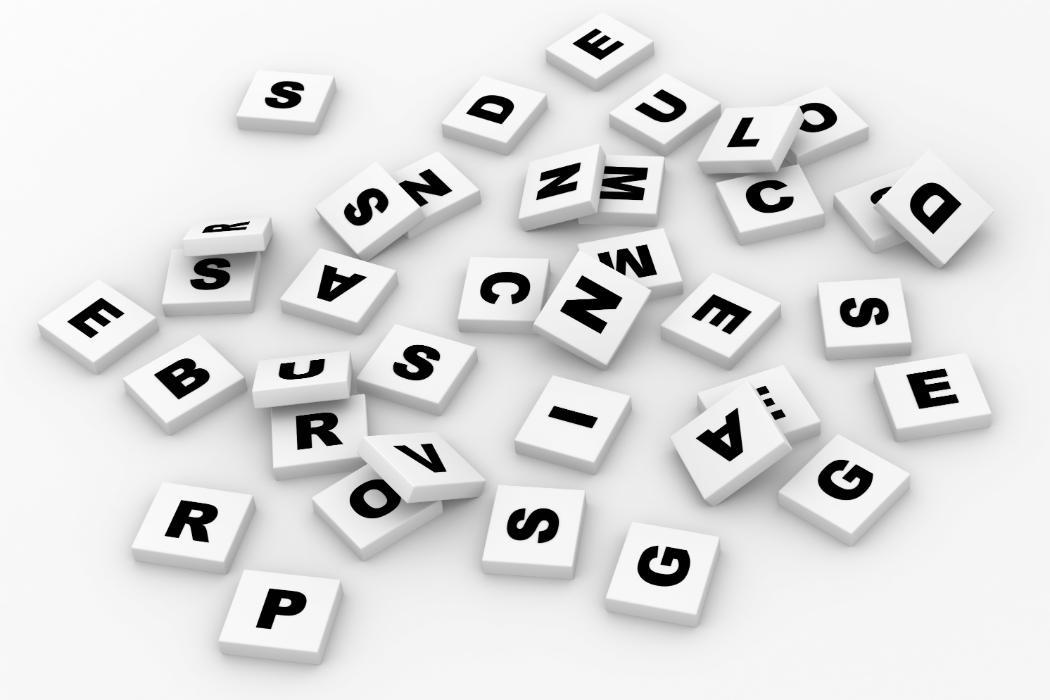 Scrabble tiles spread out