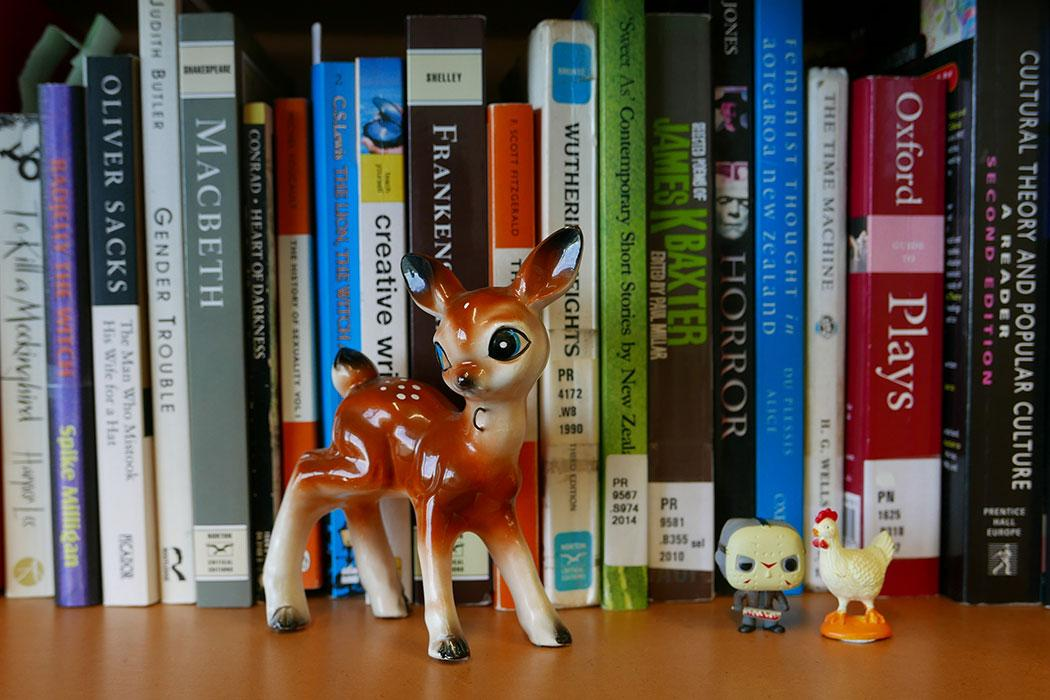 Photo of English literature books and figurines on a bookcase.