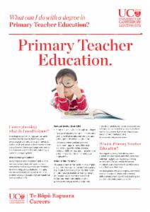 Primary Teacher Education Careers information