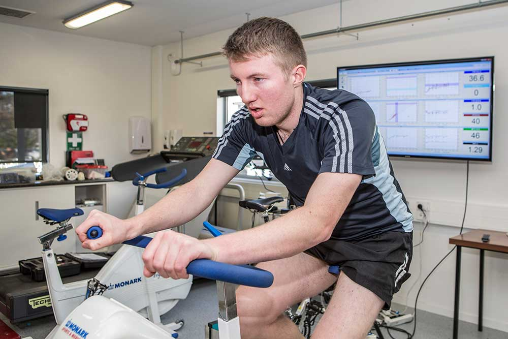 Sport Coaching student in a performance lab