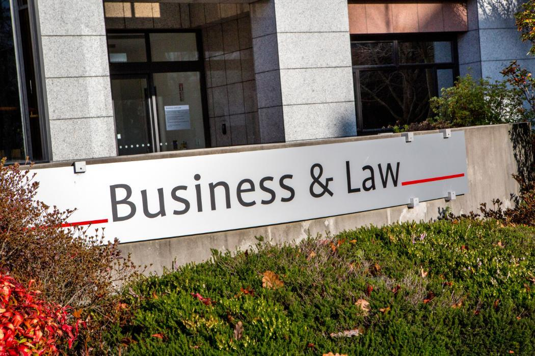 Business and law building sign from the left