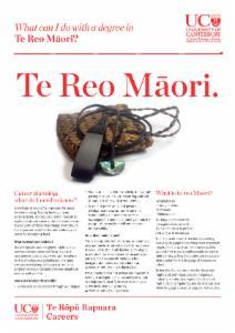 Te Reo Maori Careers information