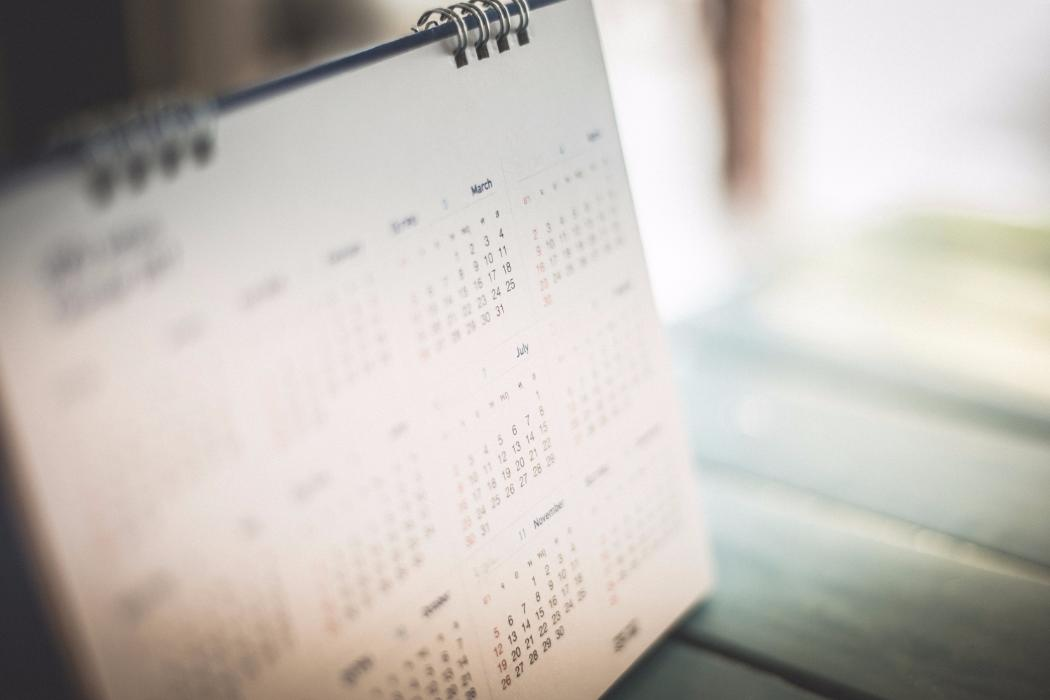Close up on blurred calendar