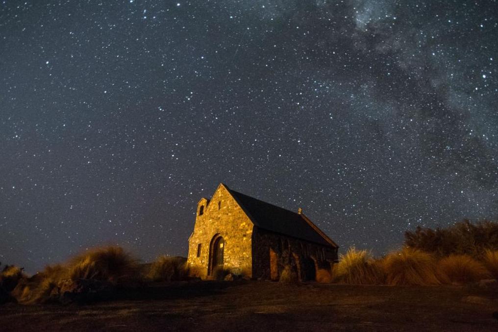 Night sky over church at Tekapo