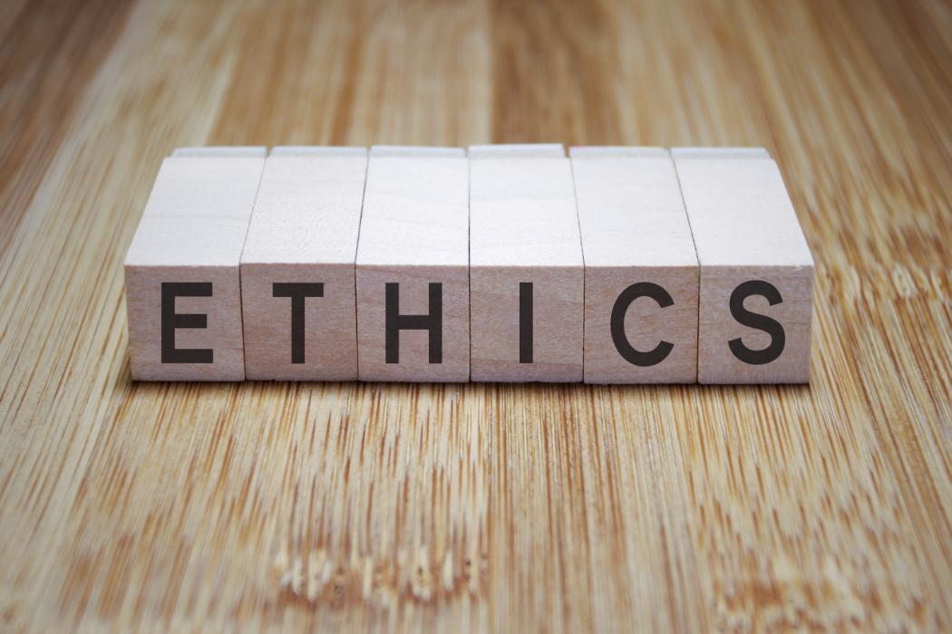 Ethics written with blocks