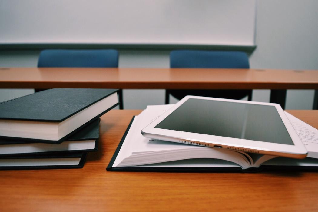 ipad and book classroom image