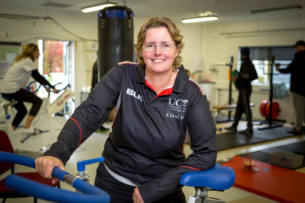 sport coaching coordinator Jenny Clark in gym