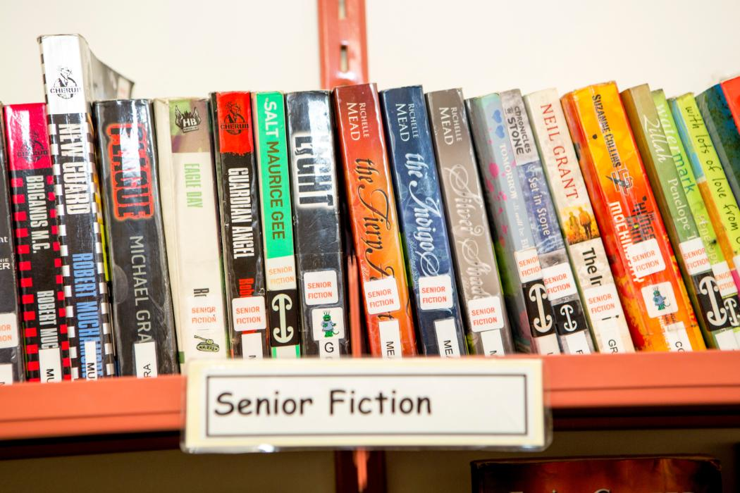 Library display senior fiction