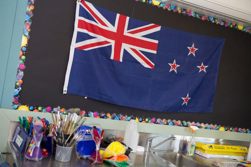 School classroom with flag