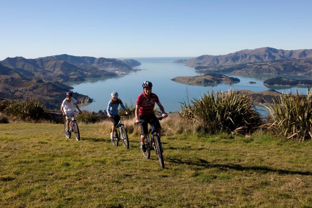 students cycling in Canterbury Port Hills