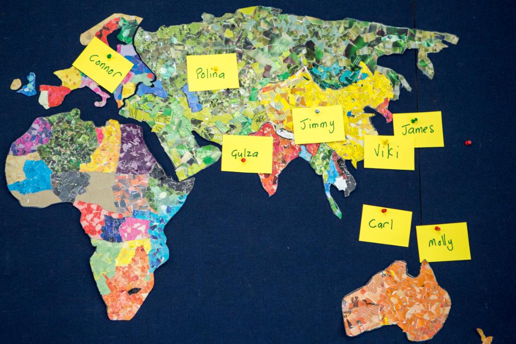 classroom map showing students' countries of origin