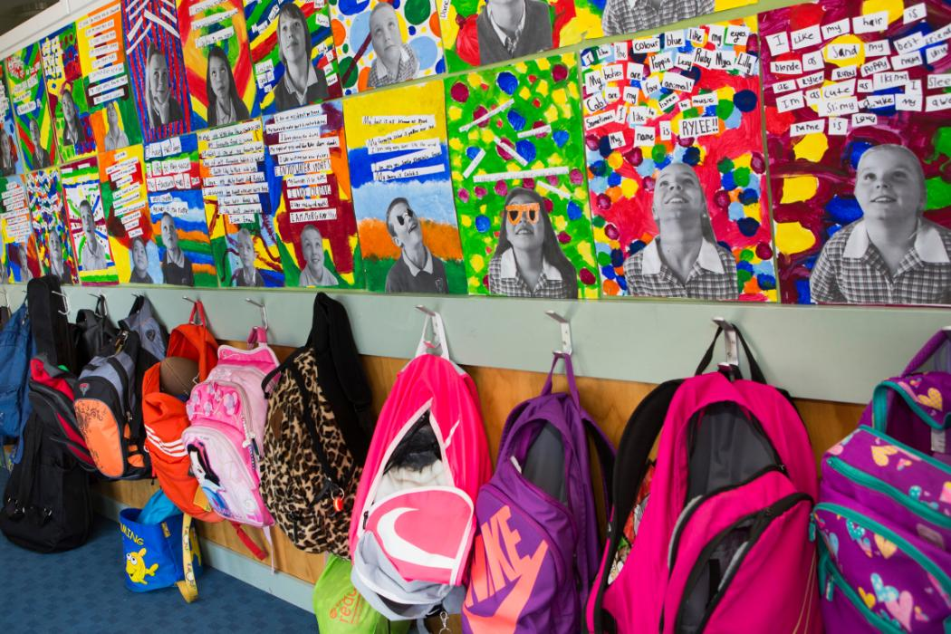 colour bags and art in primary class