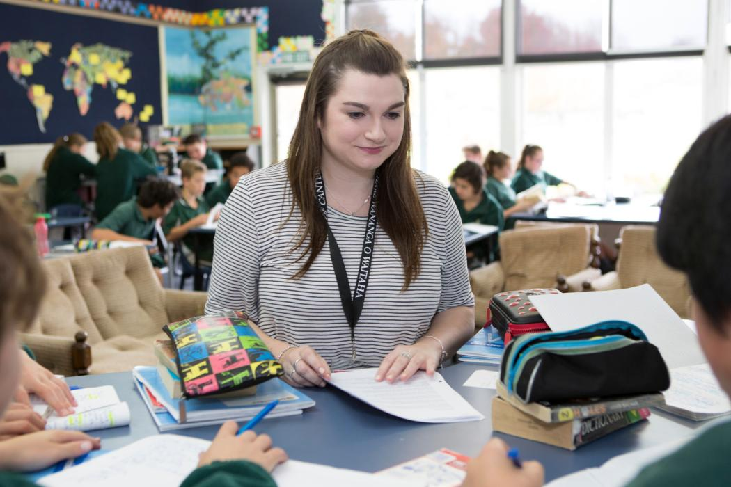 student teacher on placement in classroom