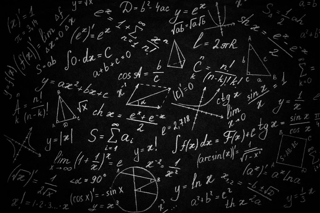 maths equations on blackboard