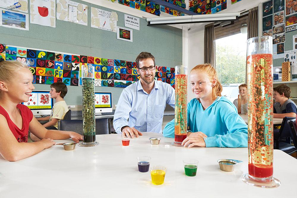 Education 2 glass tubes experiment landscape